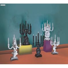 Seletti Black Burlesque Candelabra The Wise Chimpanzee Architectural Materials, Retro Pop, Commercial Furniture, Baroque Fashion, Space Gallery, Dinner Sets, 2nd Floor, Burlesque, Home Interior