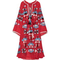 March11 Astrid Embroidered Maxi Dress ($1,400) ❤ liked on Polyvore featuring dresses, red, sleeve maxi dress, trumpet sleeve dress, embroidered maxi dress, red dress and multi-color dresses