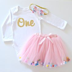 A fun confetti rainbow pom pom themed Birthday outfit for your baby girl, perfect for her Birthday Party outfit or Cake Smash photo shoot Birthday Party Outfits, Birthday Stuff, 1st Birthday Girls, 1st Birthday Parties, Birthday Ideas, Cake Smash Photos, Hadley, Little Miss, Gold Glitter