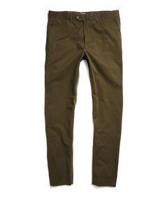 Hudson Tab Front Pant in Dark Olive