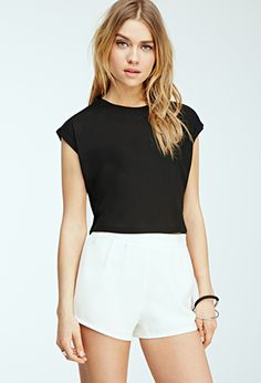 Ribbed Cuff-Sleeve Crop Top | FOREVER21 - 2000117249