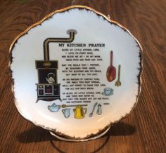 Vintage Bless My Kitchen Lords Prayer Wall Plate Made in Korea Scalloped Edges