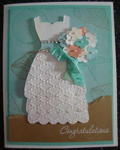 Bridal Shower Card idea (beach wedding) - I used the Stampin' Up! Dress framelits, By the Seashore stamp set, and Coastal Cabana ruffled stretch ribbon.