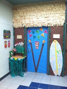 Island Adventures-Hawaiian-Luau-beach-classroom-door-decoration - Happy New Year 2019 Luau Theme, Hawaiian Theme, Hawaiian Luau, Classroom Decor Themes, Classroom Door, Classroom Ideas, Summer Door Decorations, Beach Theme Decorations, Thema Hawaii