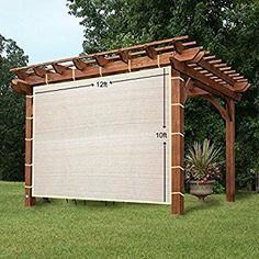 EZ2hang Sun Shade Privacy Panel 3 Sides with Ready-to-tie Ribbon ,Side Shade Wall for Pergola, Porch, Carport, Instant Canopy or Gazebo 12x10ft Wheat
