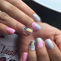 Accurate nails, Drawings on nails, Exquisite nails, Fashion nails 2017, Feminine nails, Grey and pink nails, Medium nails, Nails ideas 2017