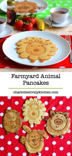 Don't make boring pancakes, make cute farmyard animal ones instead. Recipe, instructions and video. Cute Food, Good Food, Yummy Food, Baby Food Recipes, Snack Recipes, Snacks, Crepes And Waffles, Pancakes, Kids Meals