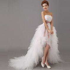 2016 Low price the bride royal princess wedding dress short train formal dress quality design wedding growns new arrival