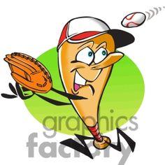 Baseball cartoon character player
