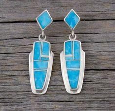 Navajo turquoise inlay in silver drop earrings.  Post earrings. Handmade Native American earrings.