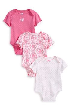 Free shipping and returns on Little Me 'Damask' Cotton Bodysuits (Set of 3) (Baby Girls) at Nordstrom.com. Dainty prints and pretty pink hues charm as a set of comfy cotton bodysuits finished with scalloped lace trim.