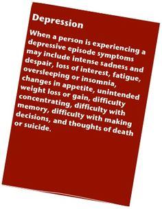 Symptoms of a depressive episode.