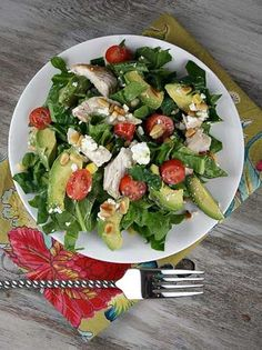 Amaze Your Family Members - Spinach Salad with Chicken: Avocado and Goat Cheese, spinach, cherry tomatoes, corn, cooked chicken, avocado, goat cheese, toasted pine nuts, white wine vinegar, extra-virgin olive oil, dijon mustard, ground black pepper, salt