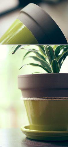 DIY color block planter pot