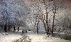 Anders Andersen-Lundby - A Winter Landscape With Horses and Carts By a River