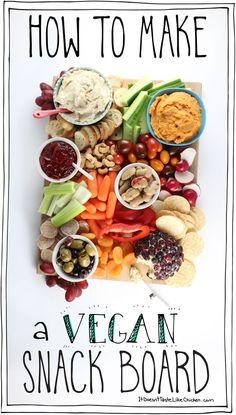 Vegan Party Food, Healthy Vegan Snacks, Vegan Appetizers, Vegan Foods, Appetizer Recipes, Vegetarian Recipes, Vegan Snacks On The Go, Party Appetizers, Easter Recipes