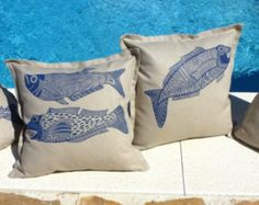 cushion covers/pillow cases/set of 4/handprinted linocut/scatter cushions/sofa cushions/interior decorating/throw cushions/decorative pillow