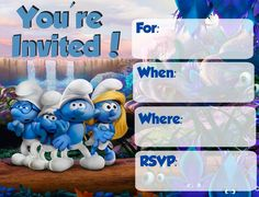 I loved the last Smurfs movie - it was so cute! So in anticipation of the upcoming Smurfs movie I decided to cr. 1st Birthday Invitations, Baby Shower Invitations, Party Invitations, 1st Boy Birthday, Boy Birthday Parties, Birthday Ideas, Lost Village, Birthday Party Centerpieces, Digital Invitations