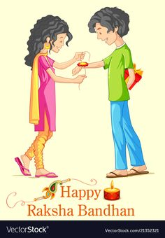 Brother and sister tying rakhi on raksha bandhan vector image on VectorStock