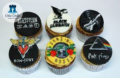 Bands Cupcakes all details hand painted by me  Led Zeppelin, Black Sabbath, Ritchie Blackmore of Deep Purple, Bon Jovi, Guns 'n' Roses and Pink Floyd
