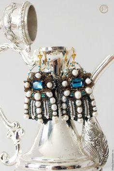 Купить Серьги с кристаллами и жемчугом. - комбинированный, серьги, нарядные серьги, крупные серьги, серьги с жемчугом