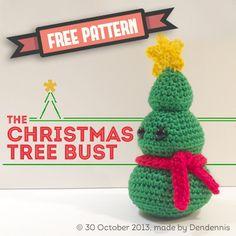 Free Amigurumi Winter Christmas Tree Bust Pattern! By Dendennis