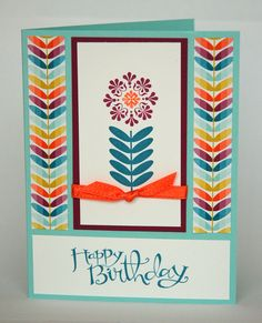 Sale-a-Bration birthday card:  Madison Avenue stamp set + Sycamore Street DSP and Ribbon
