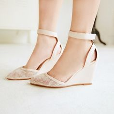 Sexy Champagne Wedge Shoes | ... Shoes // 2013 Sexy Mary Janes Ankle Strappy Wedges Lace Wedding Shoes