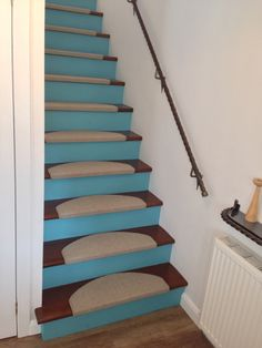 Open Risers Painted Turquoise Varnished Steps And Sisal Stair Treads On My  Stairs.