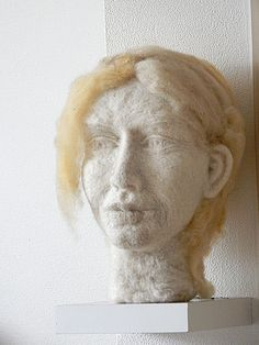Finished sculpture female head of wool. It took me 6 month to make her. She is made from various natural wools. Technique is neelde felted. I started in aug 2015 en finished her on the first of jan 2016. Size: a bit bigger than a human head Made by Geskea Andriessen (Atelier de groene Uil) facebook.com/DeGroeneUil