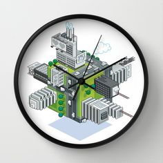 CUBIC WORLD Wall Clock by Totto Renna - $30.00