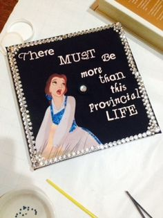 """Belle Graduation Cap """"There must be more than this provincial life."""" Beauty and the Beast Jeweled Cap"""
