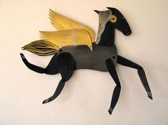 Winged Black and Gold Horse Articulated Decoration / Hinged Beasts Series  benconservato on ETSY