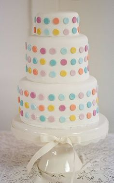 Polka dot cake - I would do this with frosting and round candies like Bottle Caps or Necco Wafers because I hate fondant