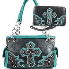 Montana West Tooled Black Turquoise Leather Style Western Cross Handbag