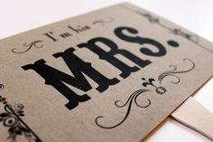 Mr. and Mrs. and Thank You Kraft Double Sided Paddle Signs . Fan