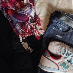Instagram @headedoutthedoor #ootd | #oldnavy sweatshirt and vest | #gap scarf and belt | #vigossusa jeans via #Nordstrom | #newbalance sneakers via #jcrew | #katespade watch