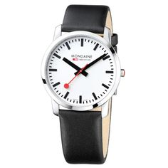 74f47669324 Search results for Mondaine 30352 Unisex Evo Alarm Leather Strap Watch  Black White