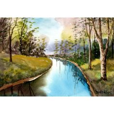 Pintar imprimir pintura acuarela Paisaje Acuarela cuadro árbol