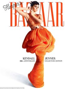 Model Kendall is a dream in tangerine gown for Harper's Bazaar #dailymail