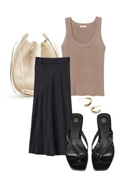 H&M top / The Row bag (similar here) / H&M Premium silk skirt / Norrfolks earrings / Totême flip flop flats (similar here) 70s Fashion, Modest Fashion, Love Fashion, Girl Fashion, Fashion Outfits, Womens Fashion, Fashion Tips, Minimalist Fashion, Spring Summer Fashion