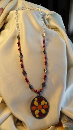 2014h AZTEC SUNSET Medallion Necklace & by BeadOriginalsbyJudi, $40.00