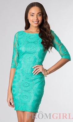 Short Lace Half Dress with Half Sleeves at PromGirl.com