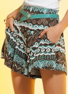 Espaço Maheyell: # Short Saia Estam Short saia Estampa Étnica, confeccionado em viscose com elastano. Modelo com detalhes e pregas na cintura. Cintura: Alta. Comprimento: Micro. Cor: Estampa Étnica. Tamanhos: P, M, G , GG, XXG.