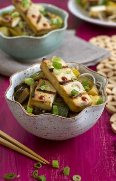 (Vegetarian)   Grilled Tofu with Summer Squash