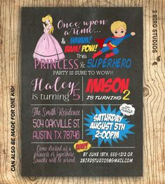 How to throw a joint birthday party celebrate with kids superhero princess party invitation twins birthday invitation superheroes princess invitation for siblings chalkboard you print stopboris Images