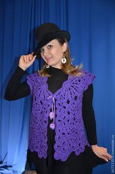 "Vests handmade.  Fair Masters - handmade.  Buy Julia ""-zhilet of fine wool. Handmade. Dark purple motif"