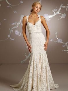 Lace Sheath Wedding Gown of Shoulder Strap : AB-2171 : $155.00