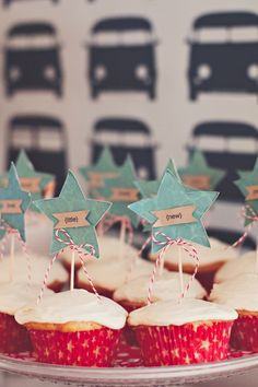 cupcake idea - add the teal accent - prolly not stars but fancy cutouts ...