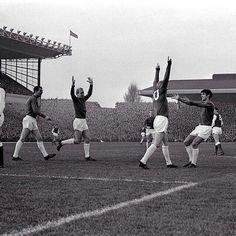 Dennis Law, Bobby Charlton & George Best celebrate a Man Utd goal against Arsenal at Highbury in 1964